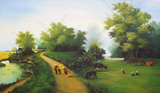 Tranh sơn dầu làng quê đẹp